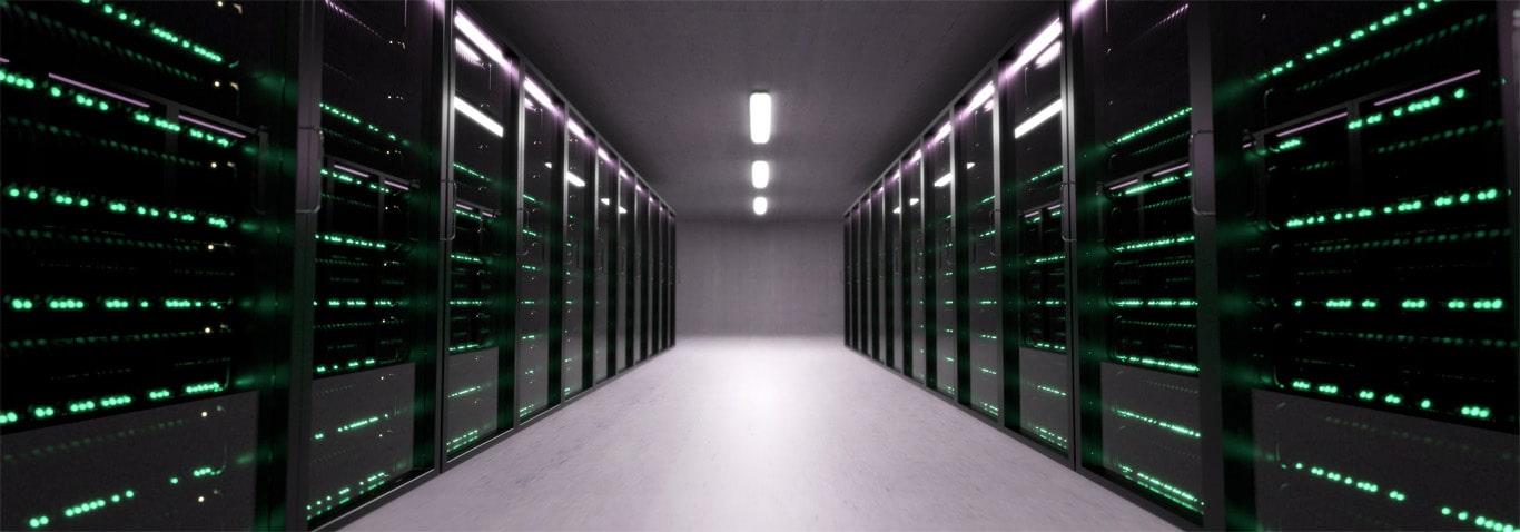 Server room with server racks lined together