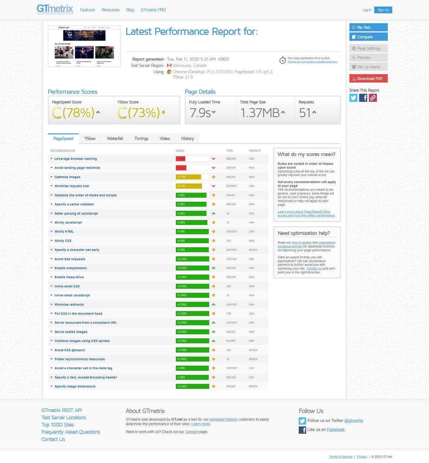 Site speedtest results on another shared hosting platform