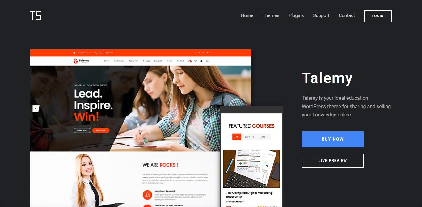 talemy learndash wordpress theme homepage