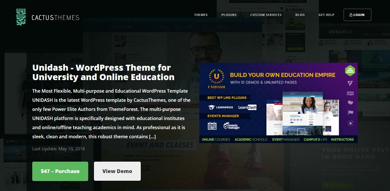 unidash cactus learndash wordpress theme homepage