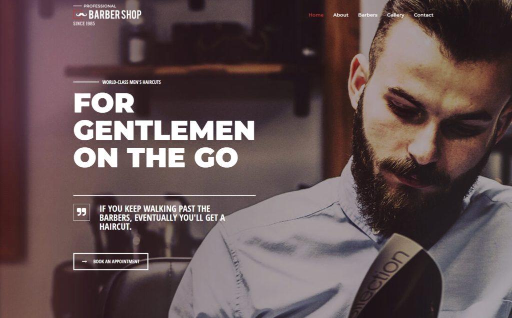 Website sample layout for barber site