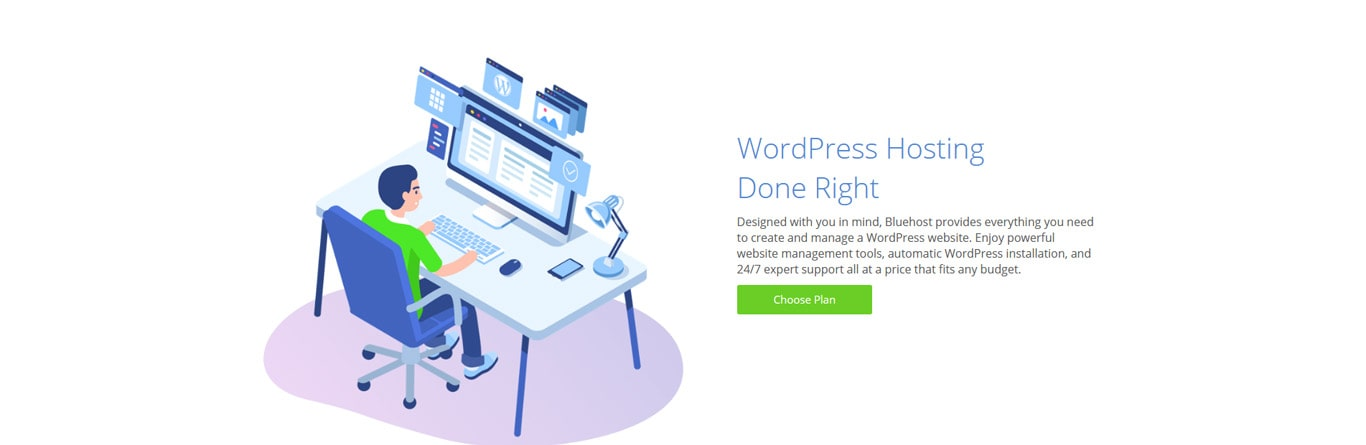 WordPress done right screenshot from Bluehost