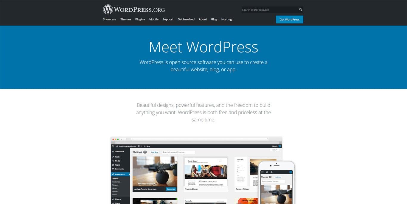 WordPress.org homepage screenshot