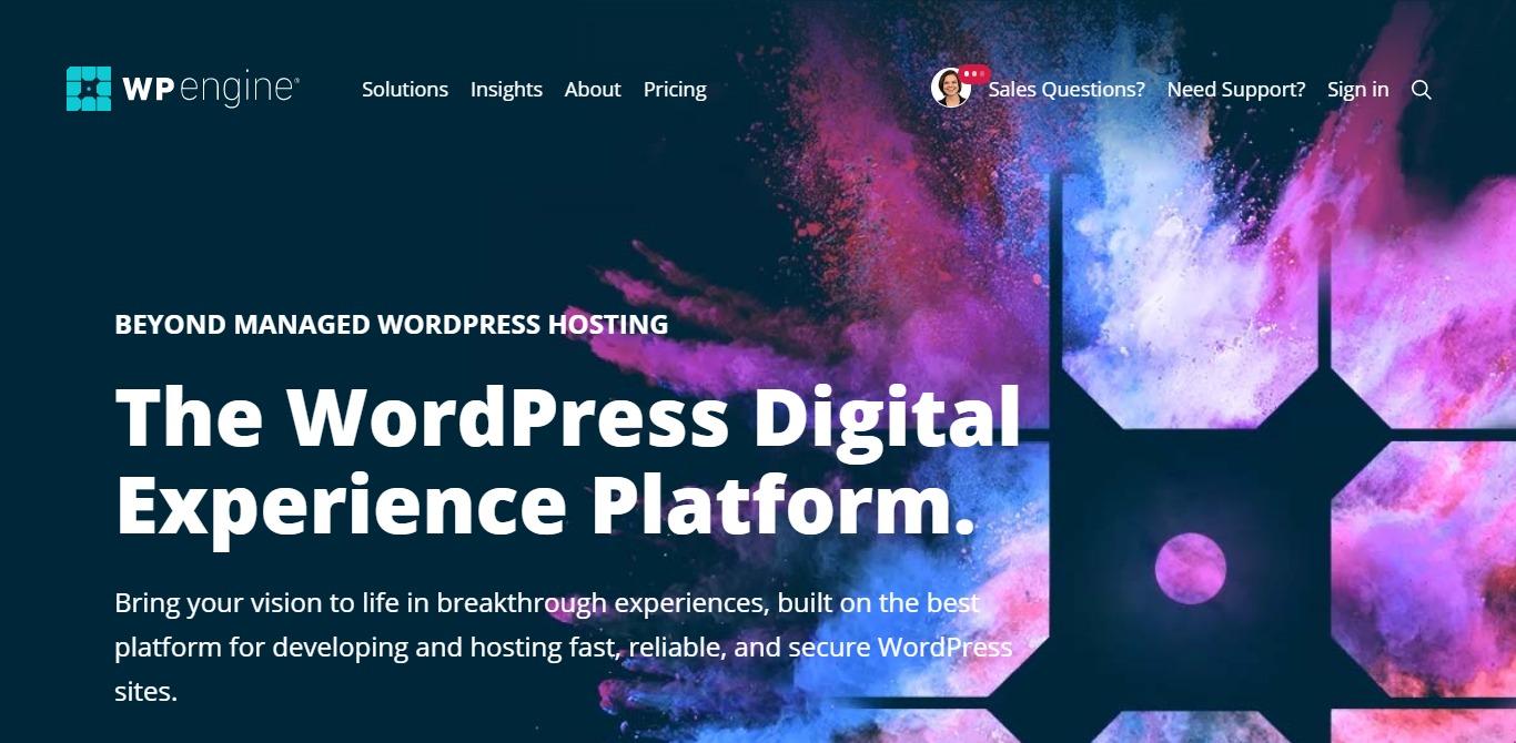 WP Engine homepage screenshot