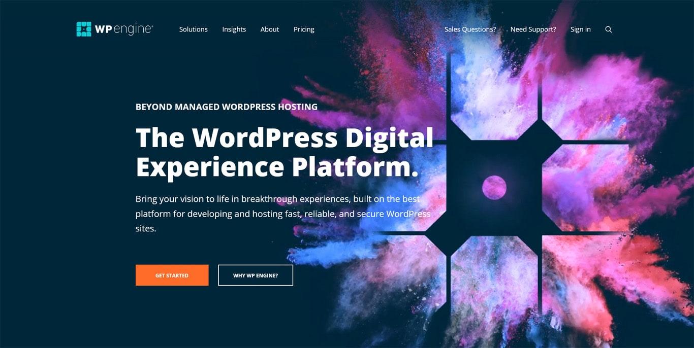 WP Engine hosting homepage screenshot