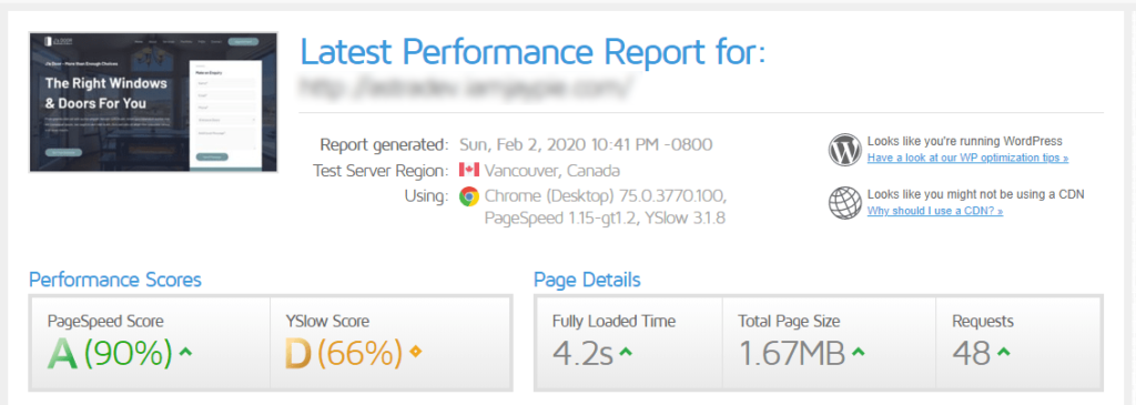 speedtest results after wp super cache installed
