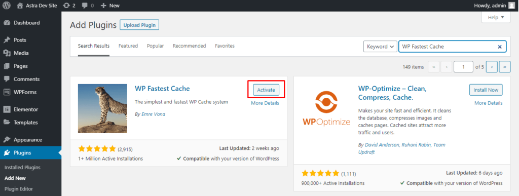 Activating WordPress Fastest Cache from the plugin search screen