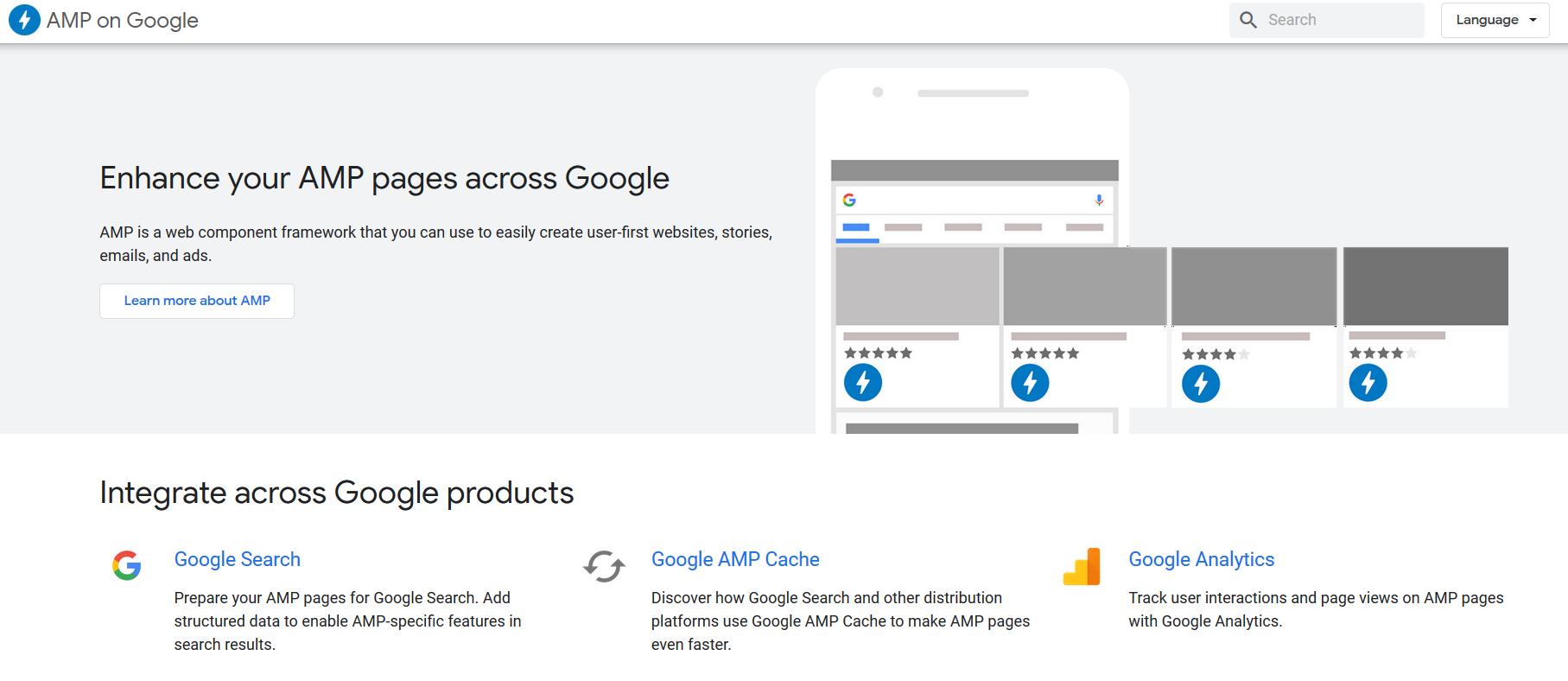 AMP on Google page screenshot