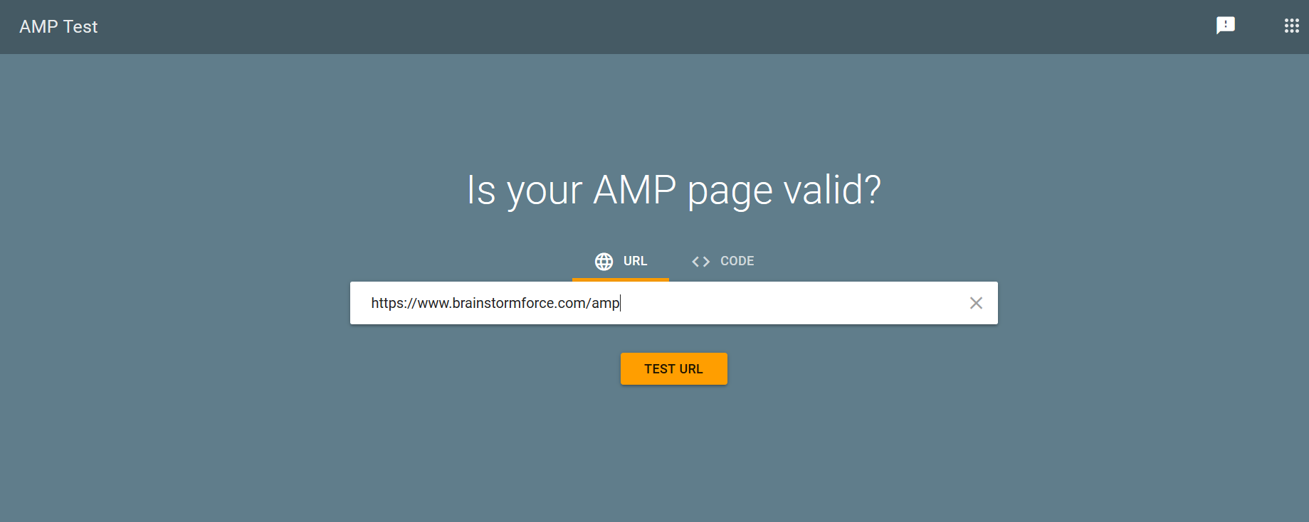Test for AMP page screenshot