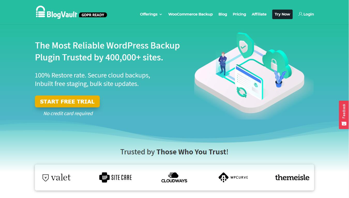 BlogVault homepage screenshot