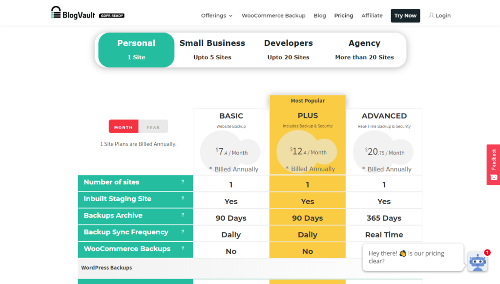 BlogVault pricing table with basic, plus, and advanced pricing