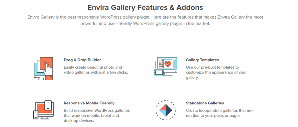 Envira Gallery plugin features