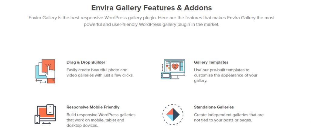 Envira Gallery plugin features