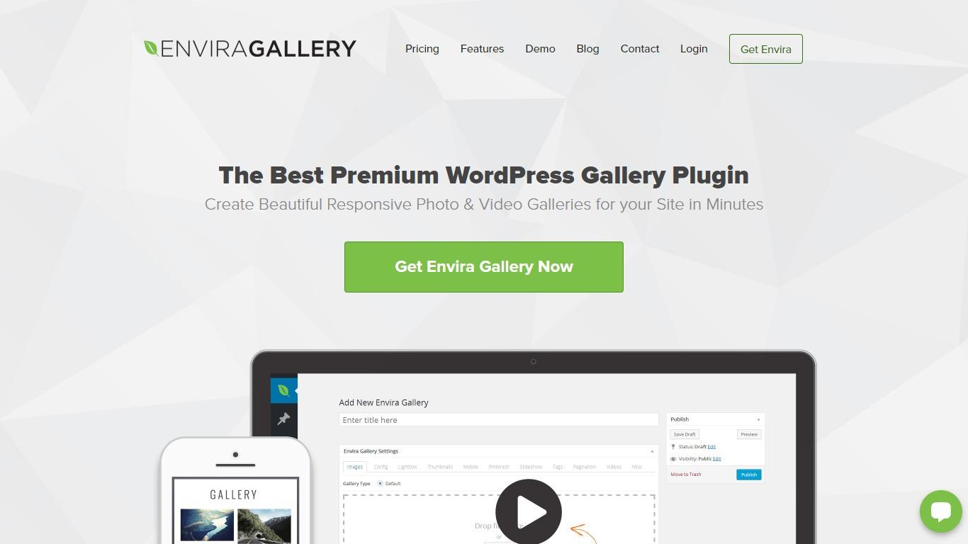 Envira Gallery homepage screenshot
