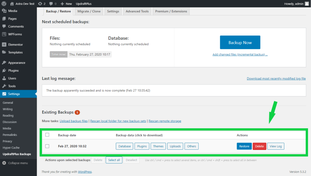 Existing backups shown in UpdraftPlus