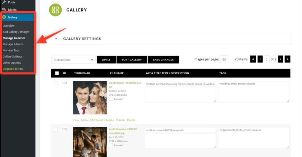 NextGEN Gallery settings panel