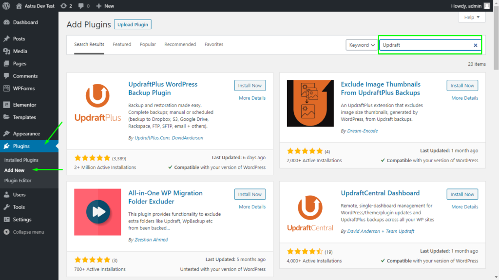 Searching for the UpdraftPlus plugin on the WordPress plugin page