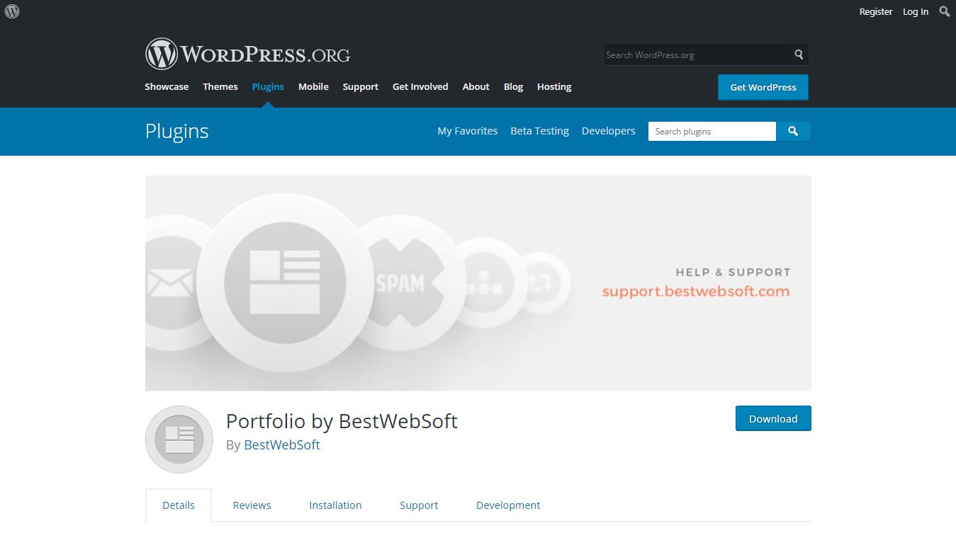 Portfolio by BestWebSoft plugin download page on WordPress.org