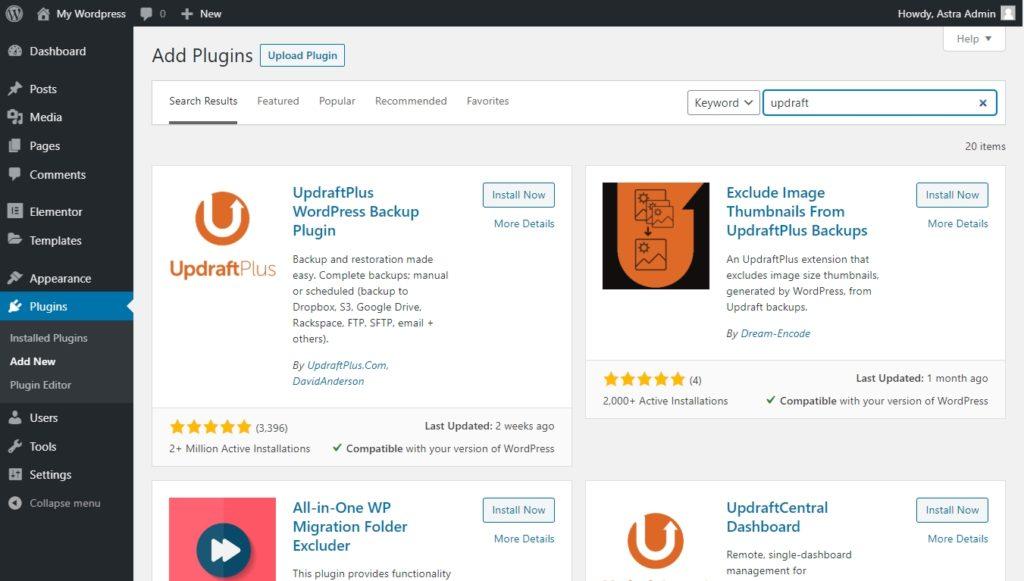 Updraft Plus plugin search on the WordPress dashboard