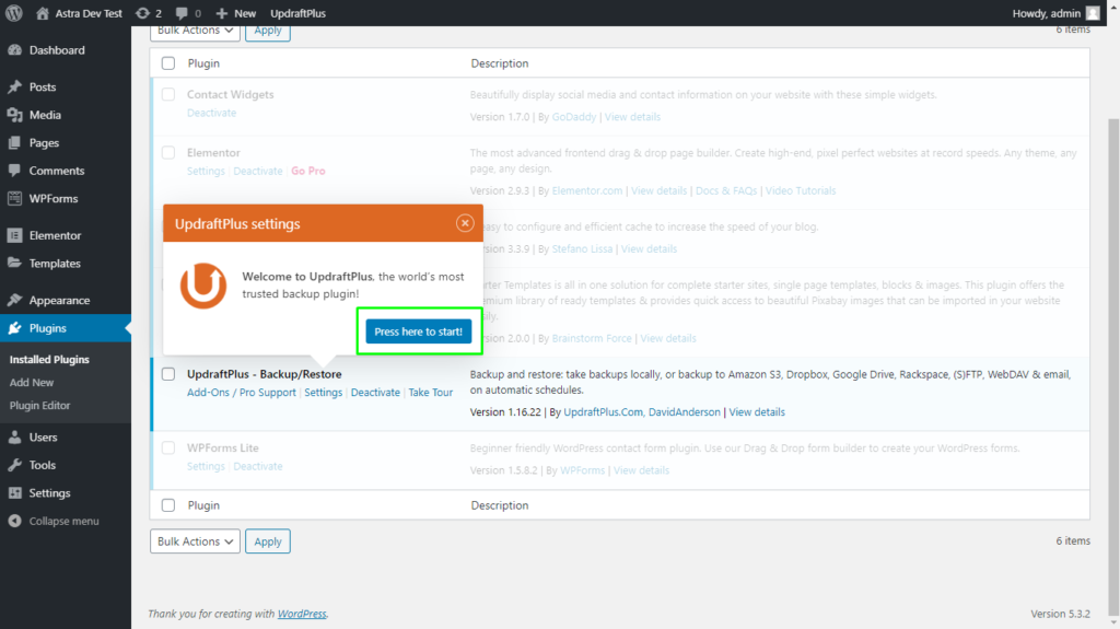 Start UpdraftPlus plugin from the plugins page