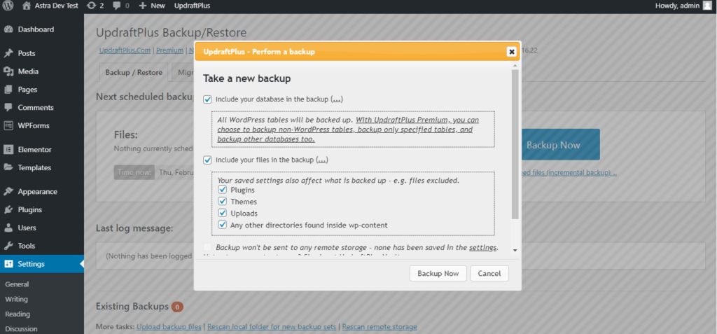 Taking a new backup from UpdraftPlus Plugin