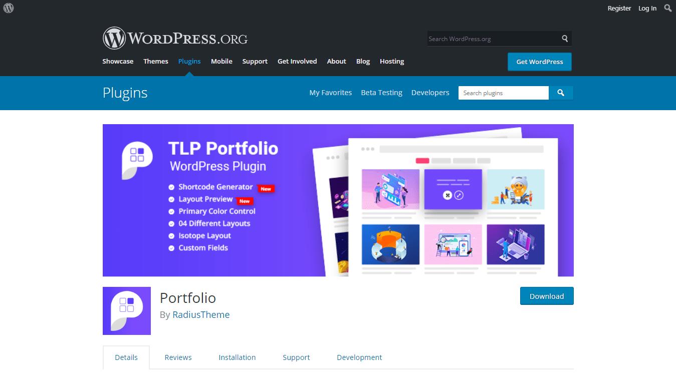 TLP Portfolio plugin download page on WordPress.org