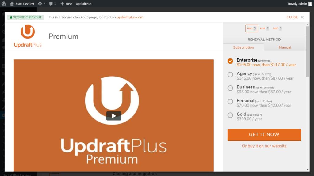 Upgrade UpdraftPlus plugin to the premium version