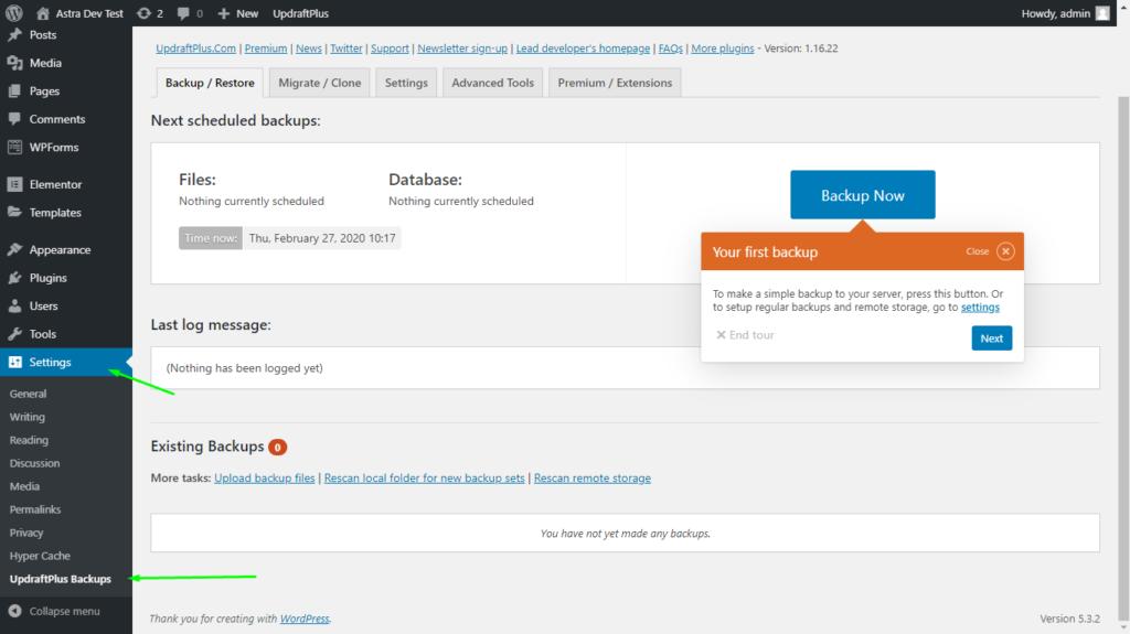 UpdraftPlus backup plugin settings