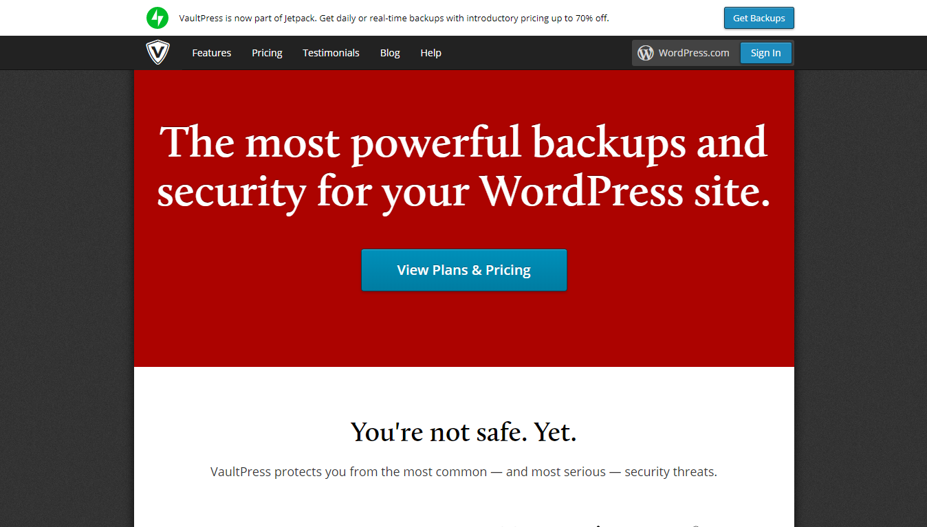 VaultPress homepage screenshot