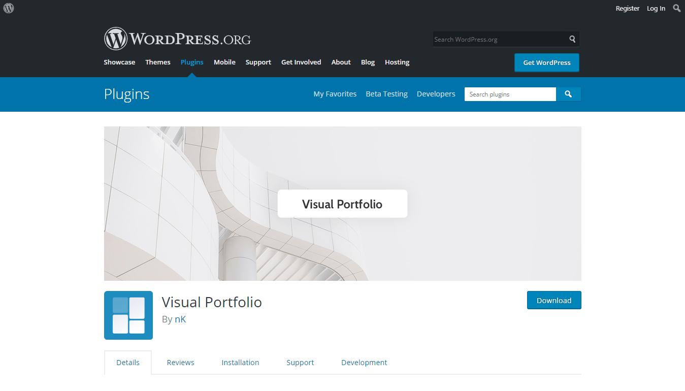Visual Portfolio plugin download page on WordPress.org