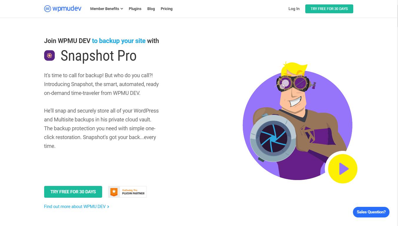 WPMU Snapshot Pro homepage