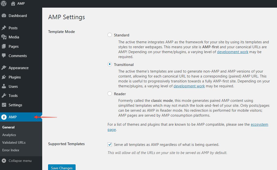 AMP settings on WordPress dashboard