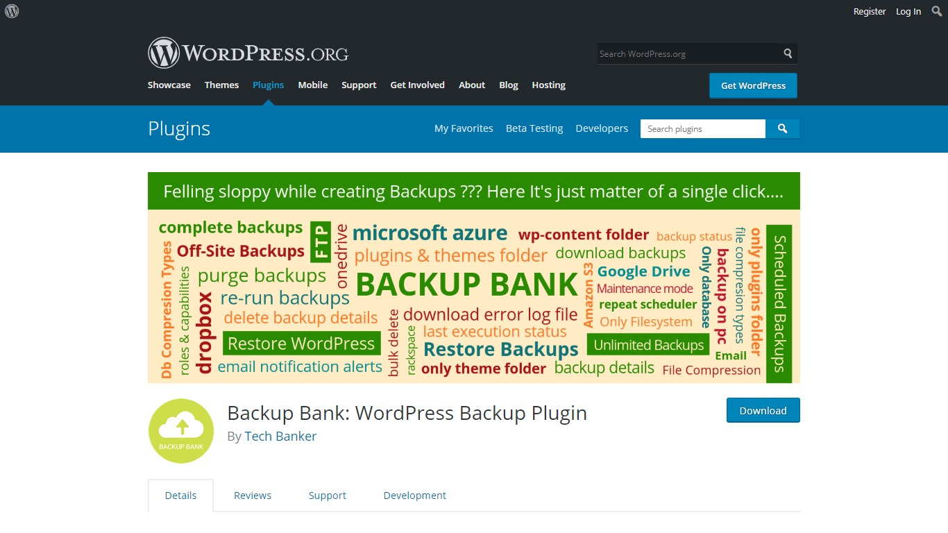 Backup Bank WordPress.org download page