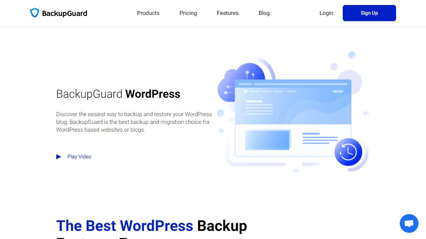 Backup Guard homepage screenshot
