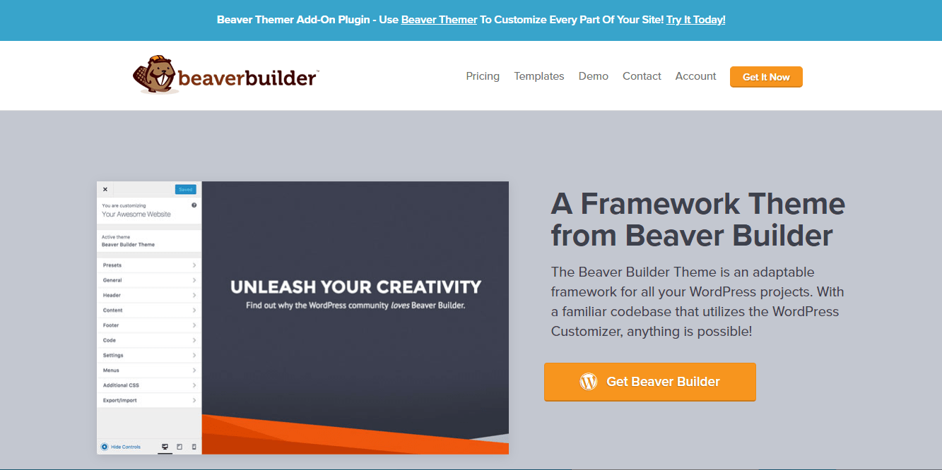 Beaver Builder theme homepage screenshot