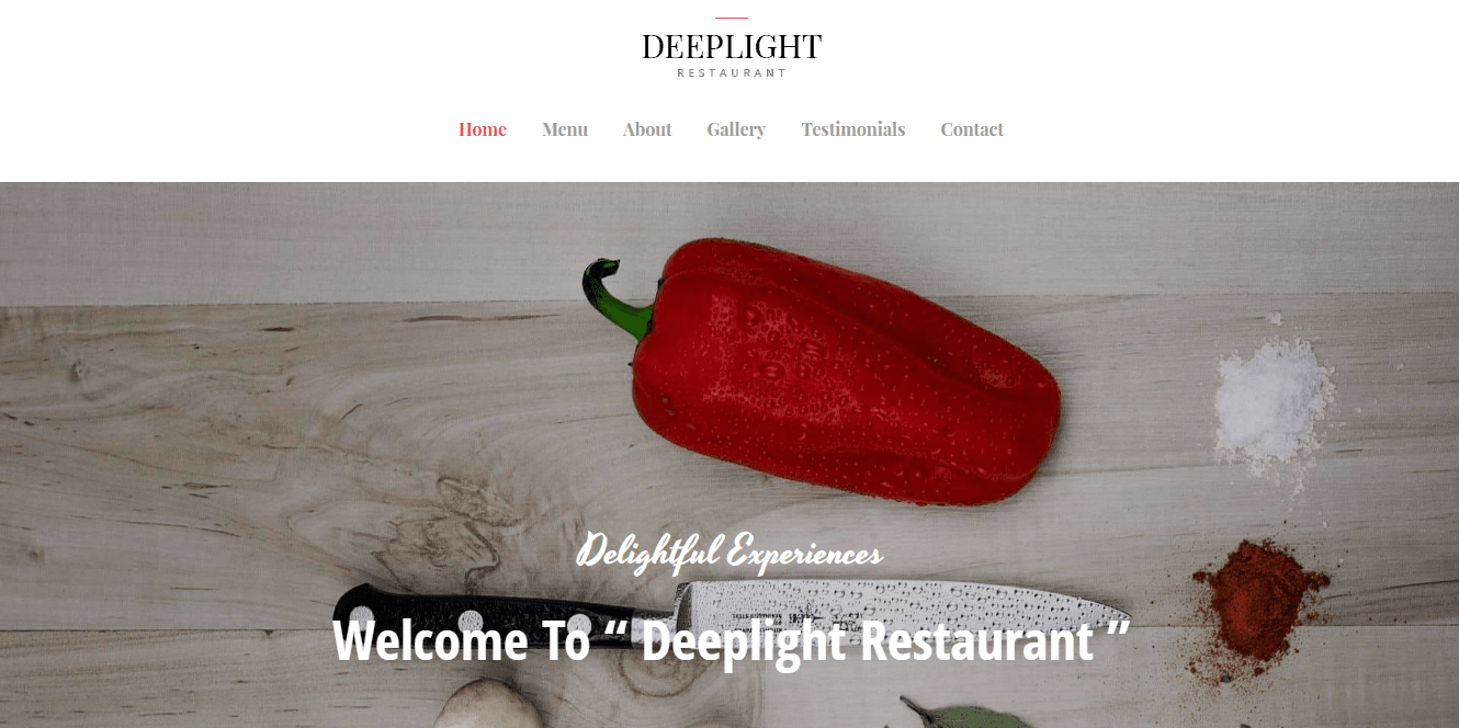 Deeplight Restaurant Template homepage screenshot