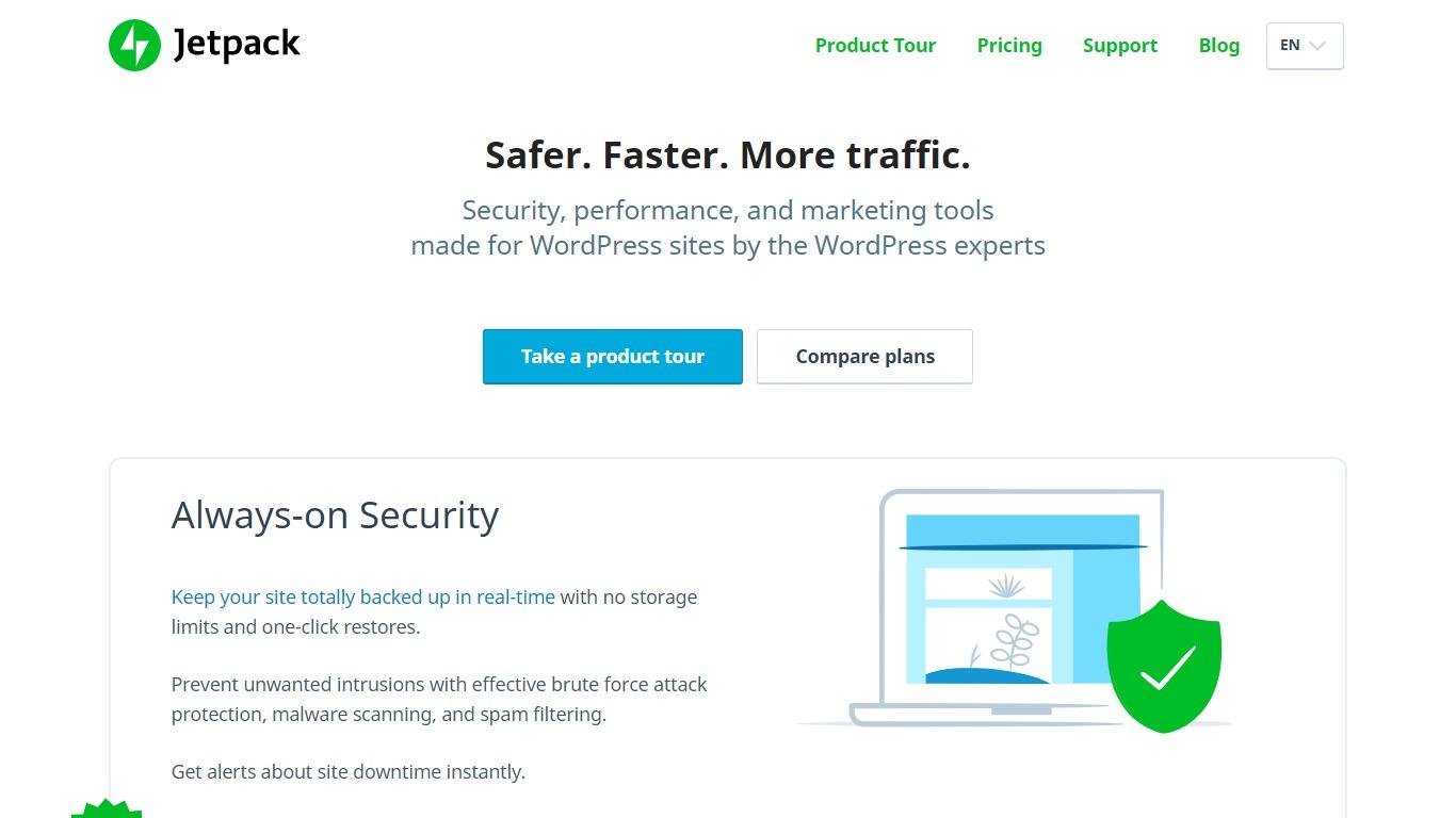 Jetpack homepage screenshot