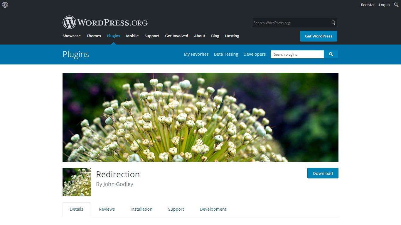 Redirection plugin download page on WordPress.org