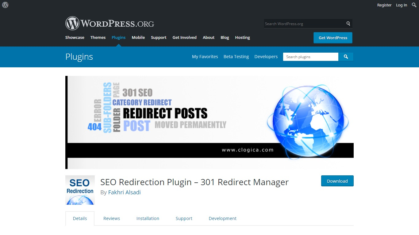 SEO Redirection plugin download page from WordPress.org