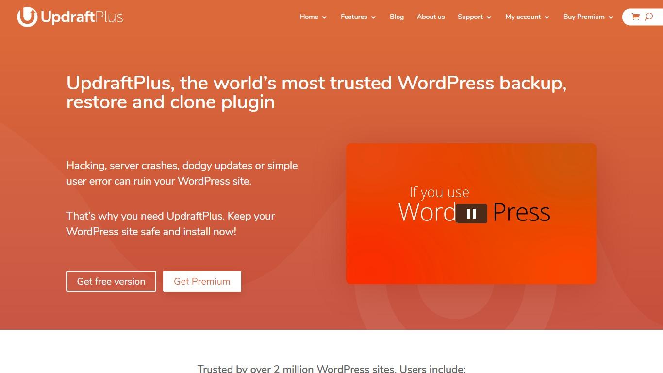 UpdraftPlus backup plugin homepage