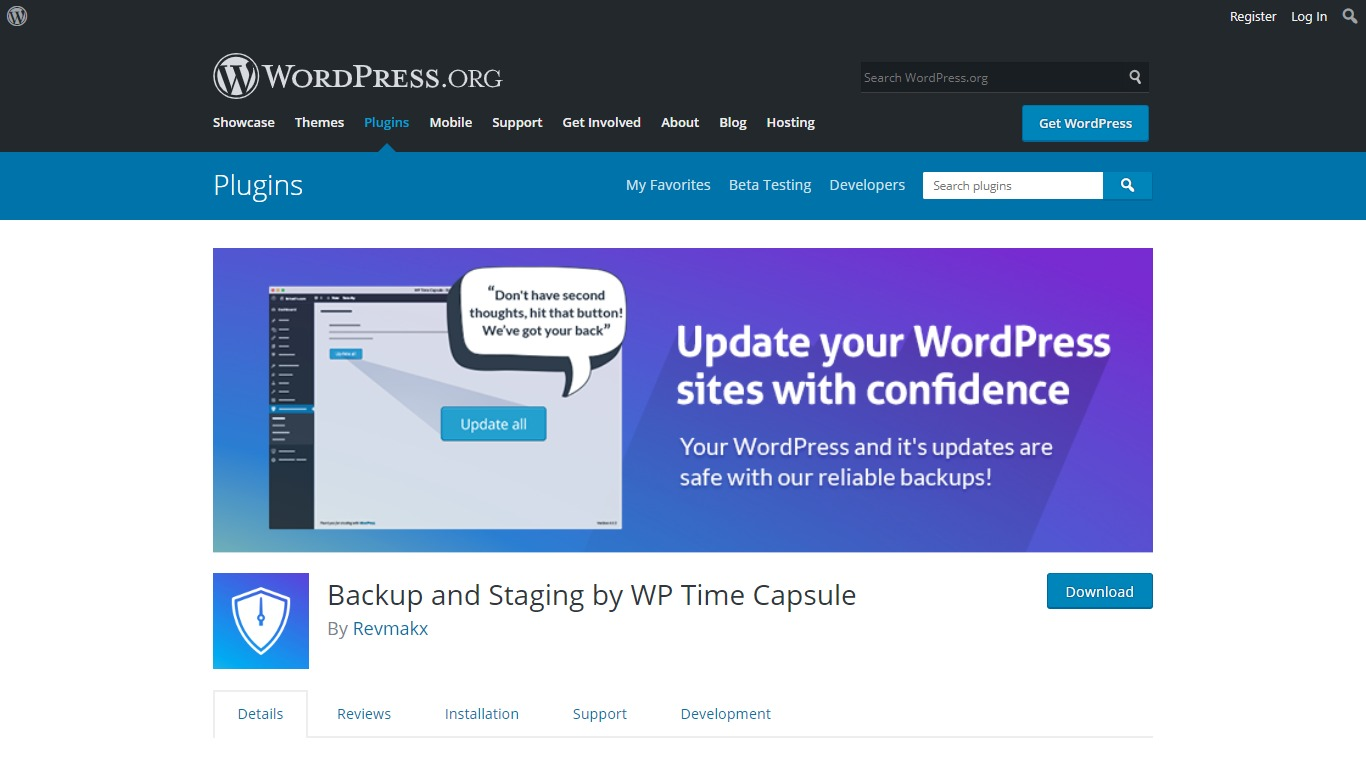 WP Time Capsule download page from WordPress.org
