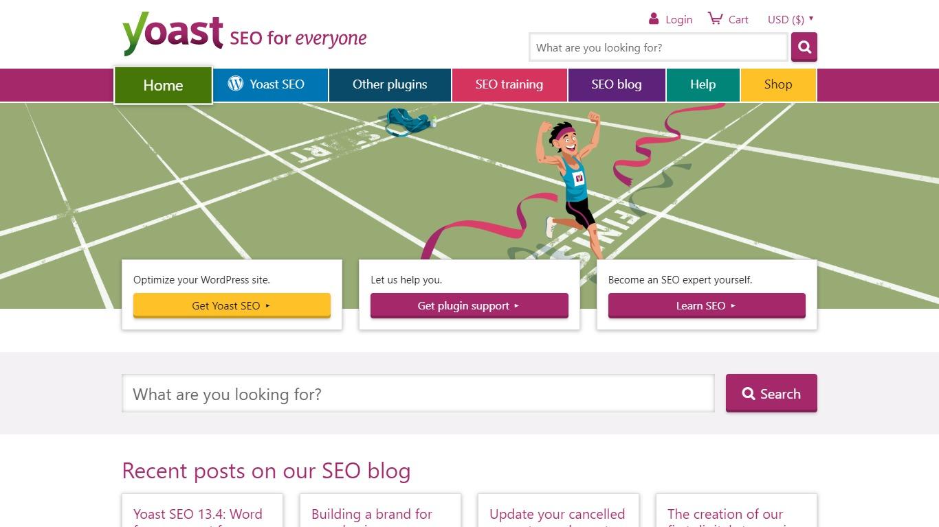 Yoast SEO homepage screenshot