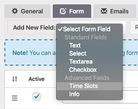 Booking calendar form tab