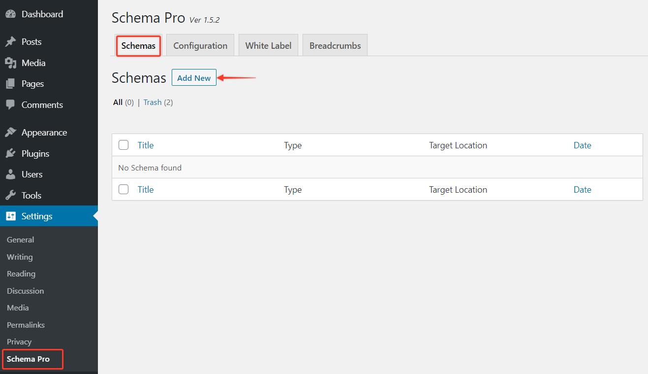 Adding a new schema markup on Schema Pro