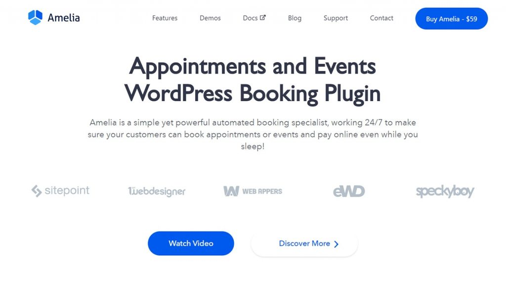 Amelia is a simple yet powerful plugin for bookings.
