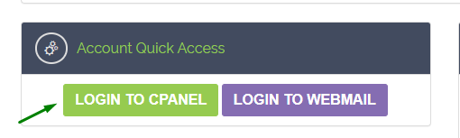 Arrow showing the button to log in to hosting's cPanel