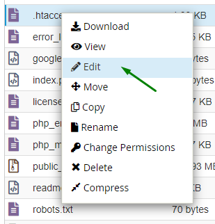 Arrow showing the context menu of the htaccess with edit option