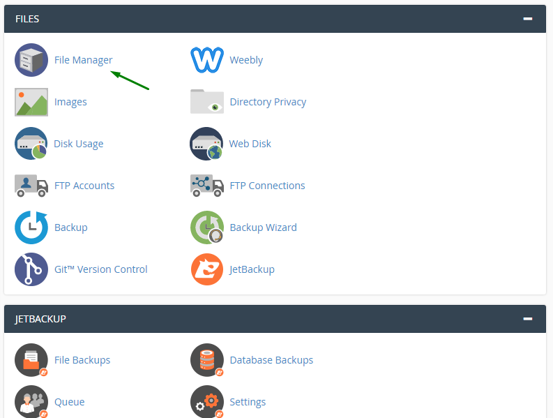 Arrow showing the File Manager on the hosting's cPanel