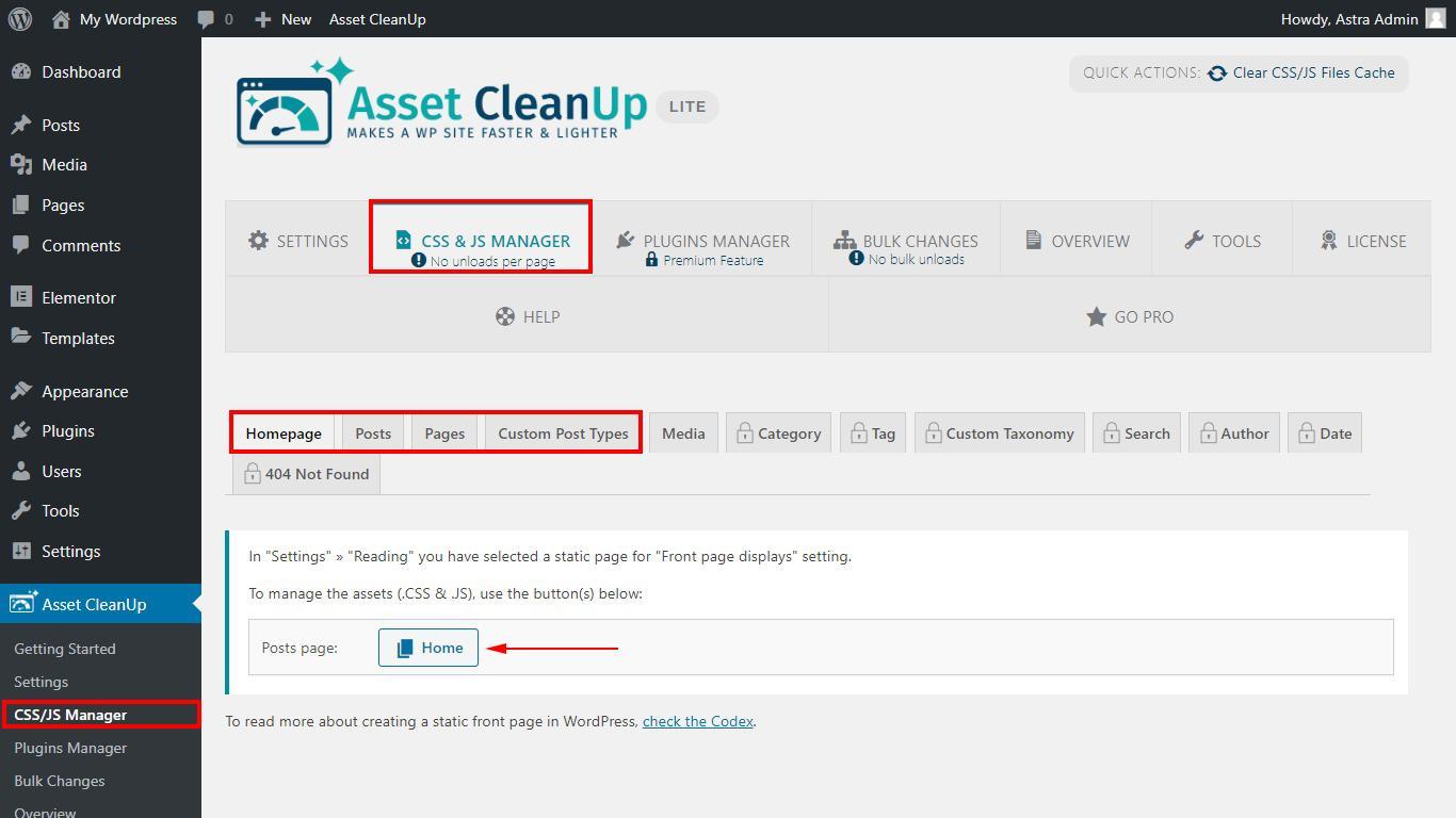 Asset Cleanup configuration page