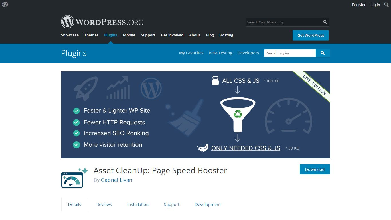 Asset Cleanup plugin download page from WordPress.org